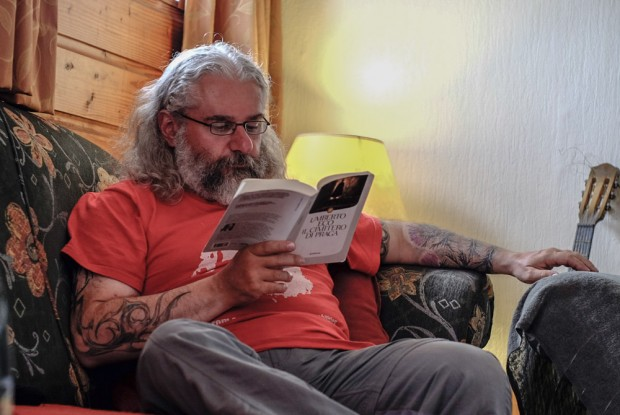 Picture of me reading taken by Tim