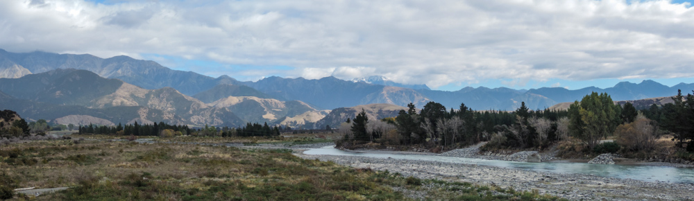 Not much water in the rivers but the snow is starting to appear on the mountains.