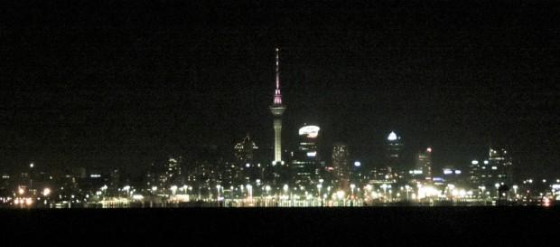 Sailing towards Auckland in the dark