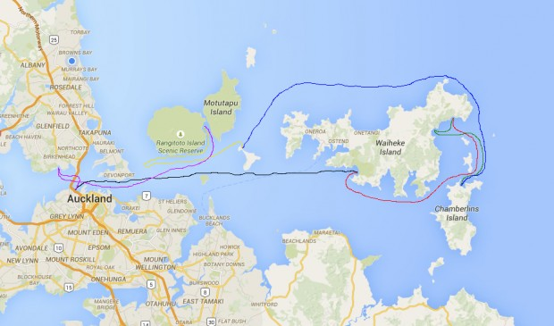 Route around the Hauraki Gulf