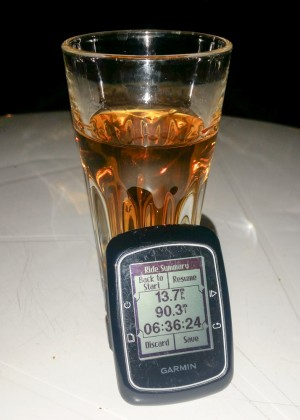 Some very good and cheap aged Jura in a funny glass to celebrate the longest ride.